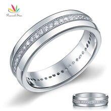 Павлин Звезда круглой огранки Мужские Свадебные обручальные кольца из чистого серебра 925 пробы ювелирные изделия CFR8068