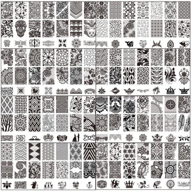 Mode Dentelle Conception Stamping Nail Plaques Nail Art Image Timbre Plaques Manucure Modèle D'ensemble Nail Outil BC 10 PCS