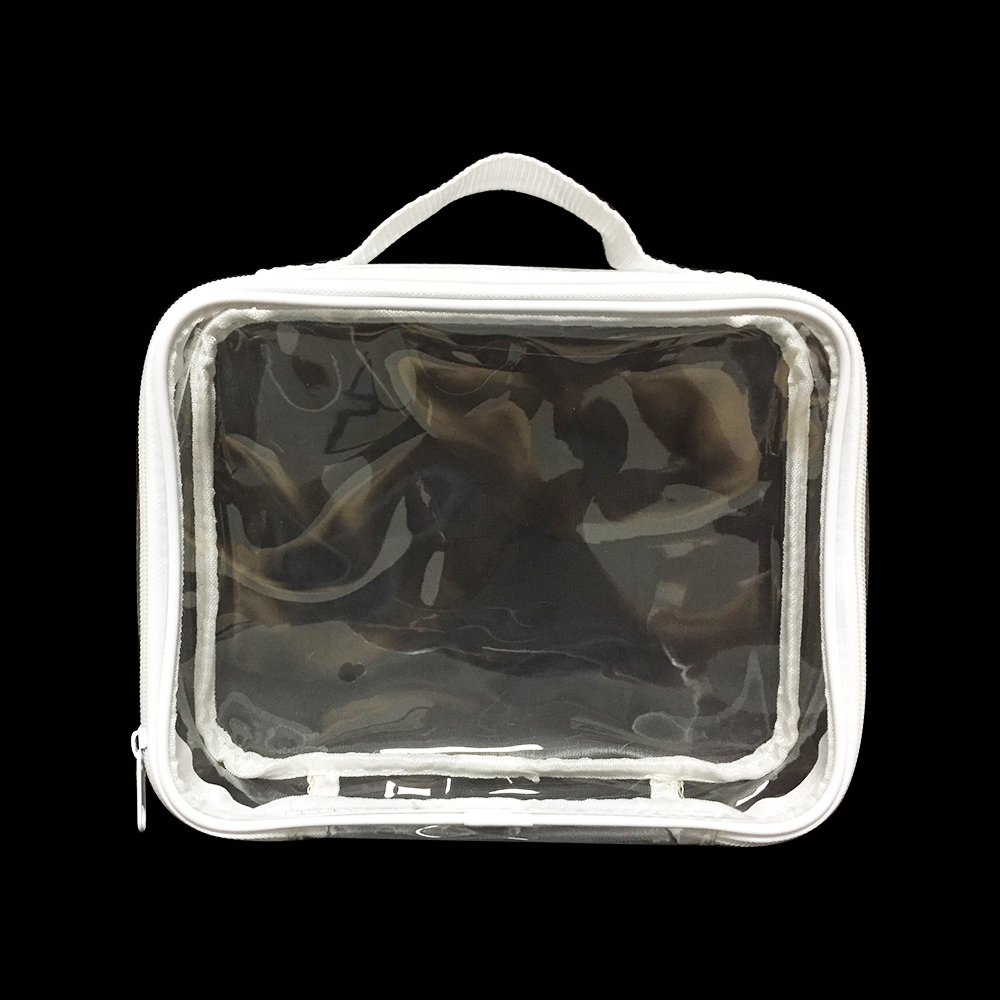 Clear PVC Makeup Case Toiletry Pouch Cosmetic Bag Size 21x16.5x5 Cm