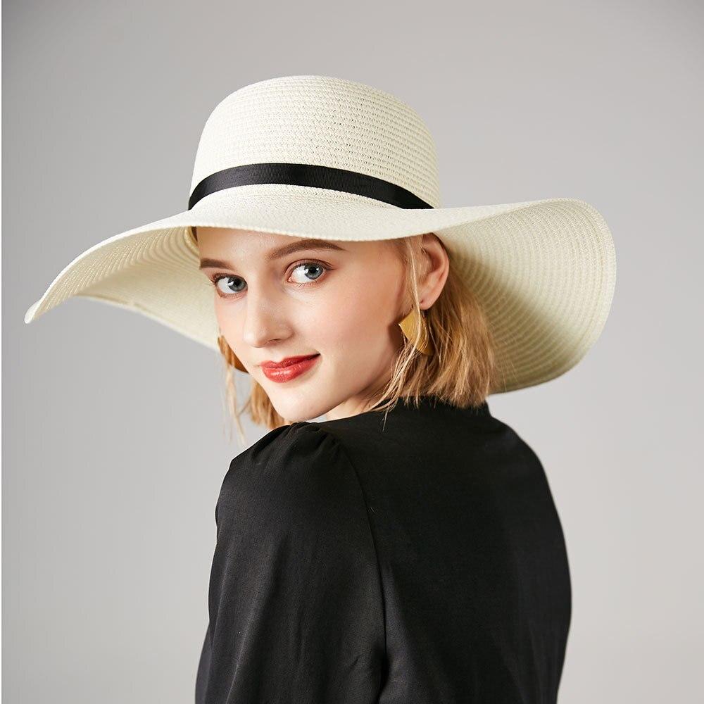 1f4d971cbc096 Chapéu de palha das mulheres de verão grande aba larga praia chapéu chapéu  de sol bloco de sol dobrável proteção UV viseira osso chapéu panamá chapeu  ...