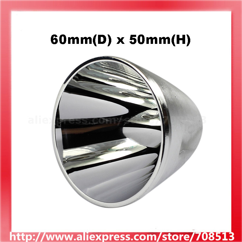 60mm(D) X 50mm(H) SMO / OP Aluminum Reflector For Cree XM-L / XHP LED