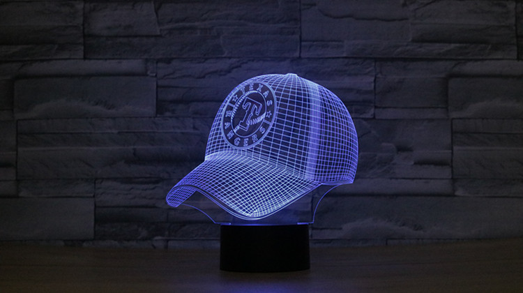 8071 Texas Rangers Baseball Cap Hat 3D Atmosphere lamp 7 Color Changing Visual illusion LED Decor Lamp