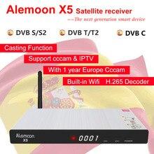 Alemoon X5 Поддержка DVB-S2/T2/кабель с ПВХ изоляцией, Wi-Fi, H.265 литья Экран IP ТВ спутниковый приемник-декодер+ 1 год CCcam для Европы Декодер каналов кабельного телевидения