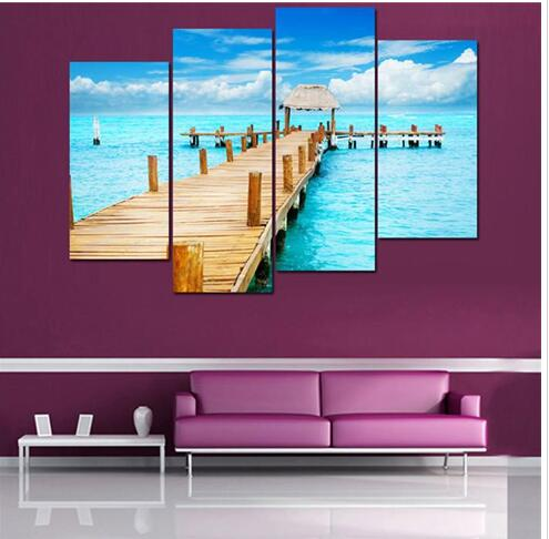 Hd Canvas Print Home Decor Wall Art Painting Picture No Frame Blue Ocean Walkway In Calligraphy From Garden On Aliexpress Alibaba