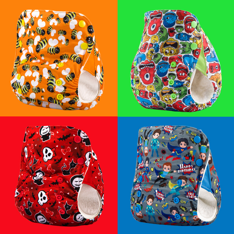 4PCS JinoBaby breathable washable diapers absorbent reusable nappies training pants
