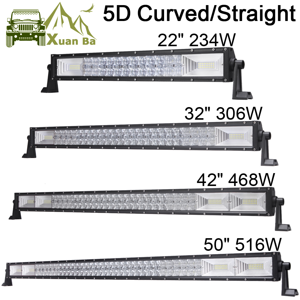 22 u0026quot  32 u0026quot  42 u0026quot  50 inch led work light bar 5d lens off road