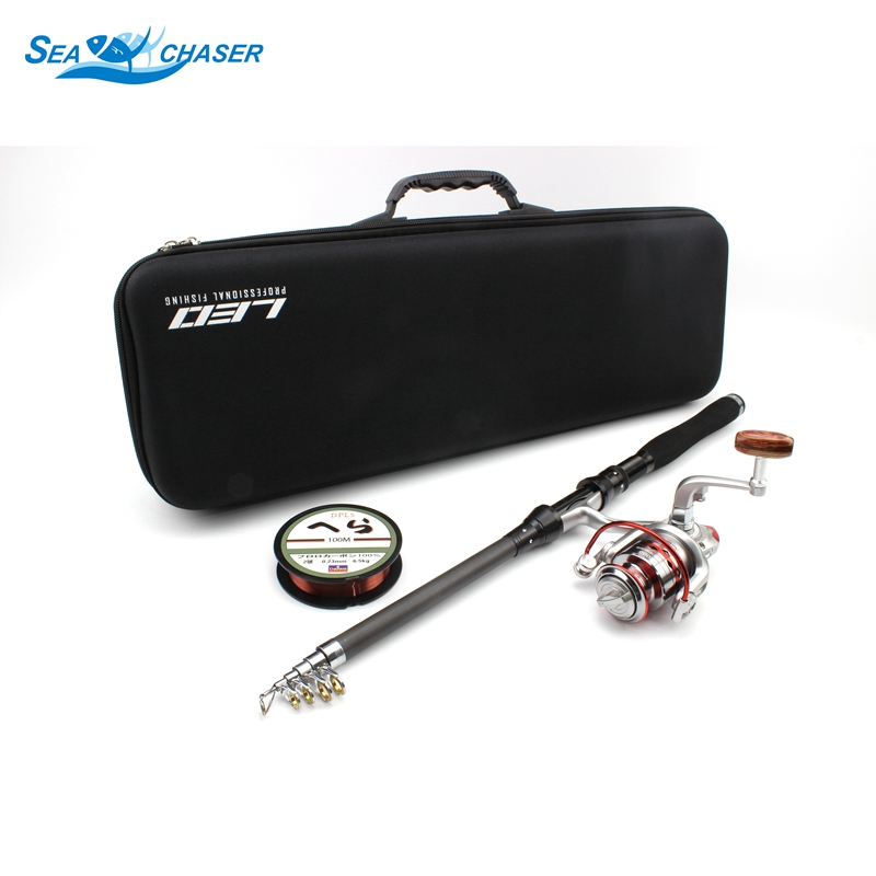 1.8M 2.1M 2.4M 2.7M 3.0M Telescopic Fishing Rod Spinning Reels line Combo Full Kit Spinning Reel Pole Set and Fishing bag