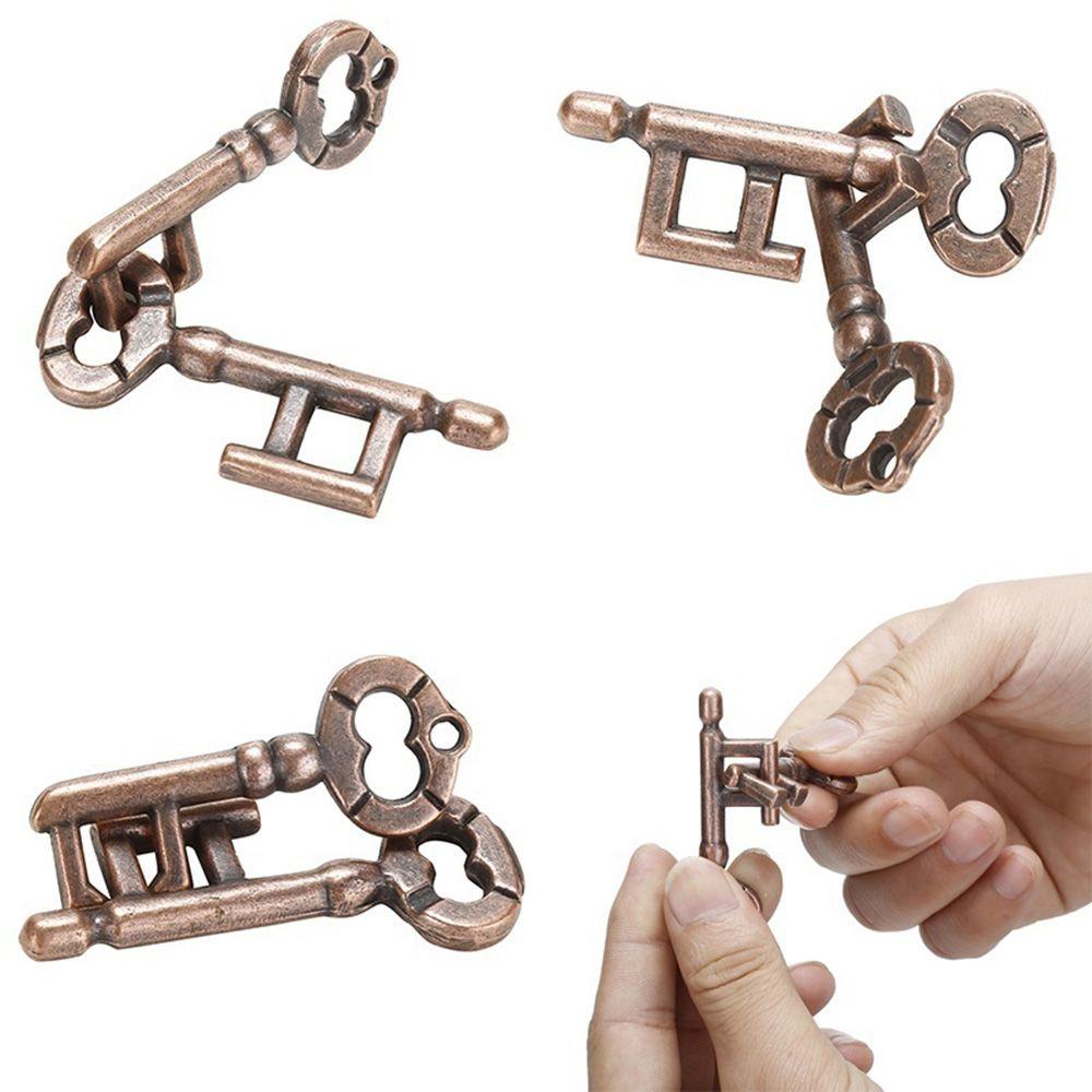 High Quality Intelligent Lock Toy Brain Tester Development Alloy Key Ring Puzzle Game Children's Kid IQ Thinking Test Key Puzzle