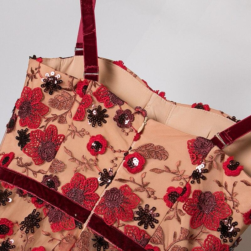 Piste Manches Courroie 2019 Broderie D'été Midi Femmes Robes Sans Gaine Marron Floral Conception Haute Paillettes De Robe Bretelles Qualité xHOvHqwEr