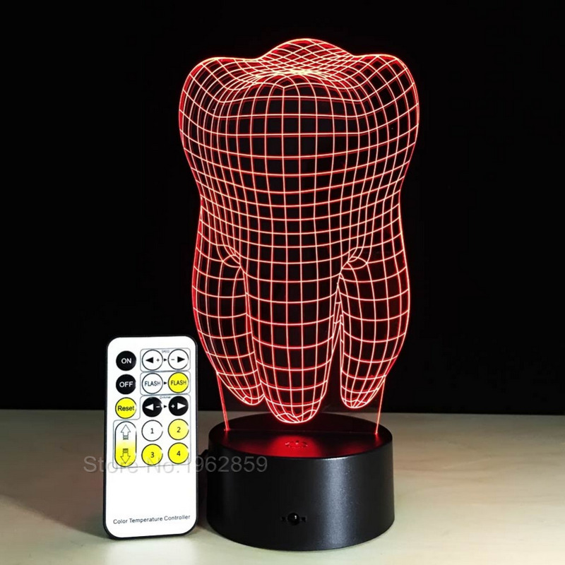 Image 5 - Teeth Type 3D Led Lamp Dental Creative Gift Colorful 3D Tooth Gradient Light Dental Clinic Artwork Artware Night Dental ShowsTeeth Whitening   -