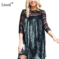 Liooil Sexy Lace Patchwork Green Velvet Dress 2018 Spring Autumn Three Quarter Casual Clothing For Women