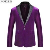 Purple Slim Fit One Button Velvet Blazer Men Brand Peaked Lapel Suit Blazers Mens Wedding Party Dinner Tuxedo Blazer for Male