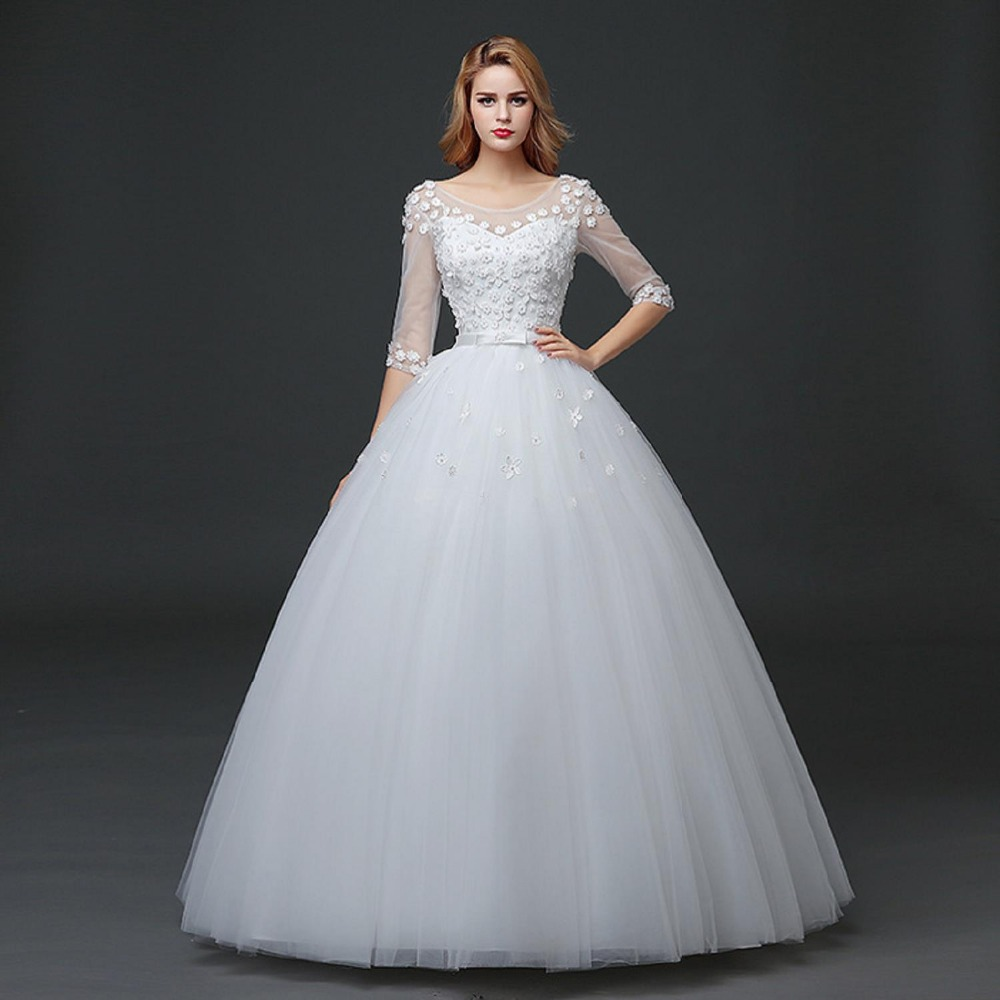 Womens Wedding Gowns: In Stock Dress Royal New White Flower Embroidery Wedding