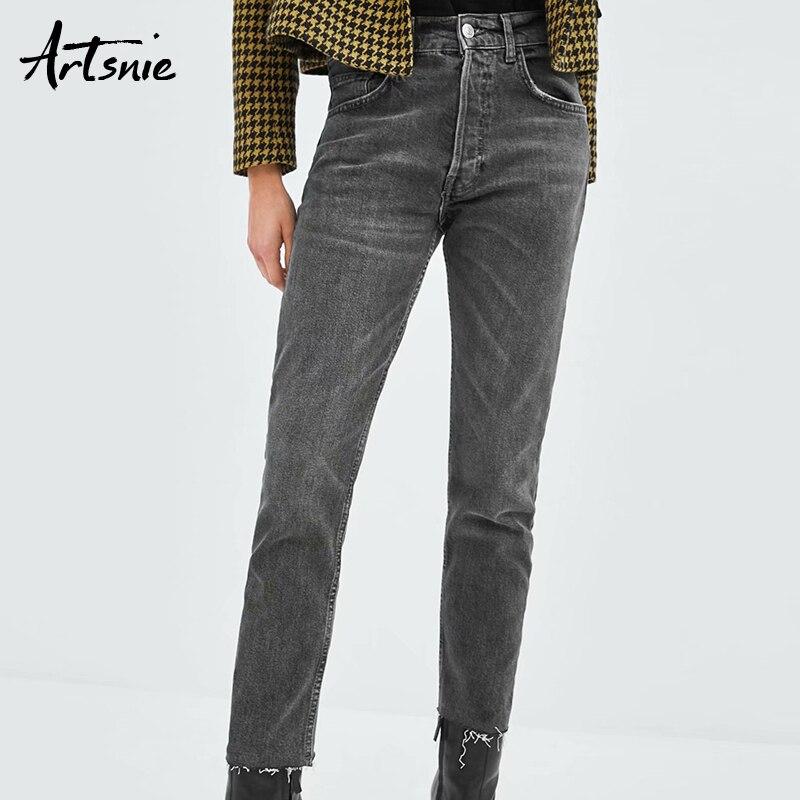 Artsnie Dark Gray Boyfriend Ripped Denim Pencil Pants Women Autumn 2018 Streetwear Casual Pockets Jeans Winter Girls Pants Femme