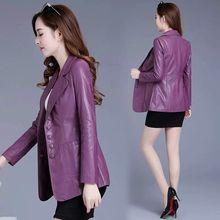 Размер M-5XL размера плюс одежда весна осень женские куртки пальто Новая Женская Длинная кожаная куртка пальто женская одежда