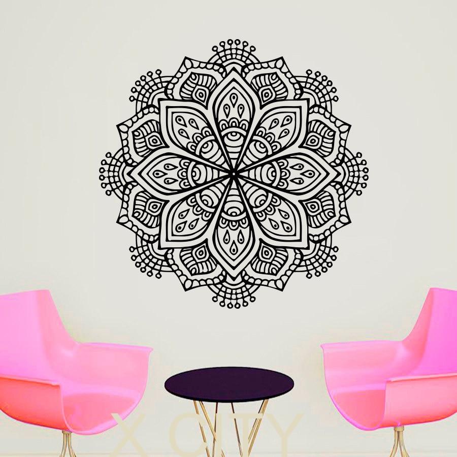 Wall Decals Buddha Yoga Mandala Pattern Oum Om Sign Decal Vinyl Sticker Home GYM Office Decor Art Murals Bedroom Studio Window