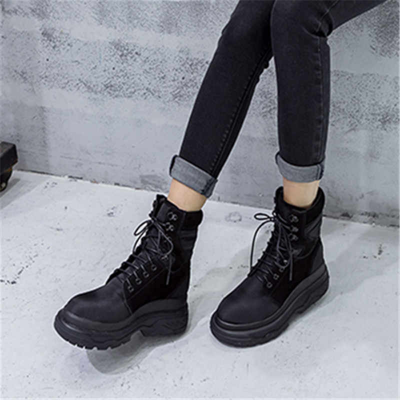Prova Perfetto נשים קרסול מגפיים מקרית קצר Botas Mujer שלג אתחול נשי פלטפורמת מטפסי גבוהה למעלה נעליים צבאי מגפיים