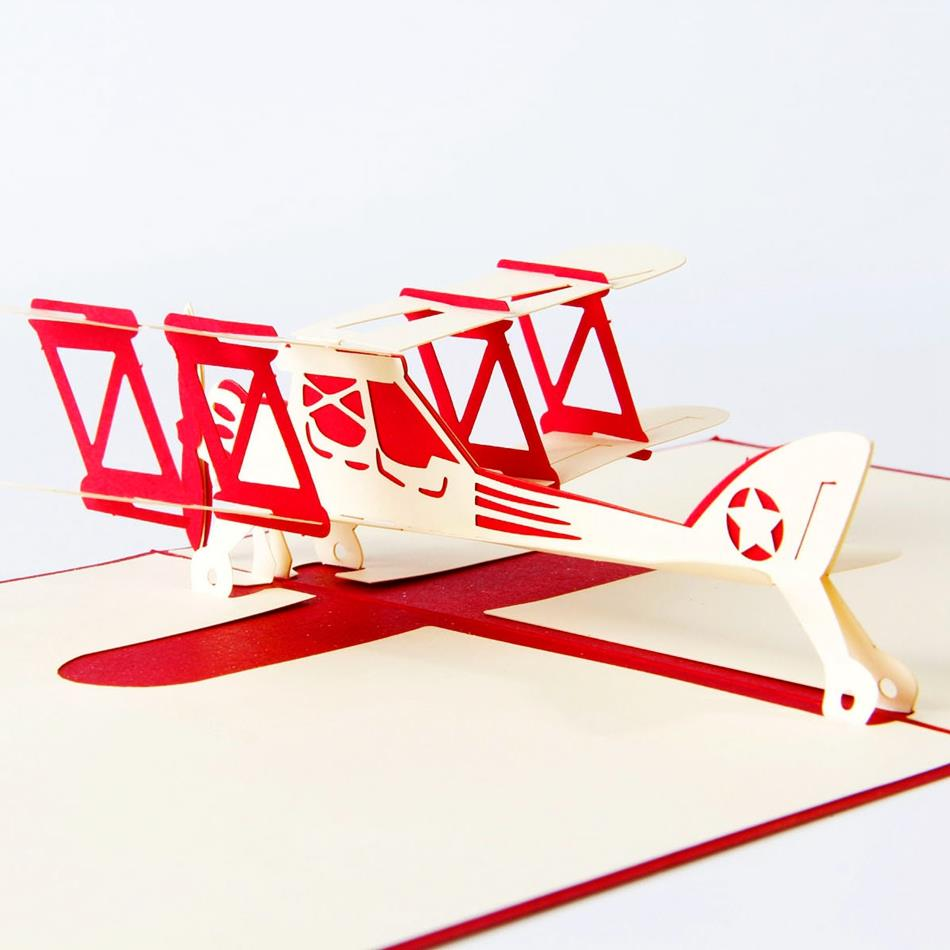 Airplane model 3D laser cut pop up blank holiday happy birthday ...