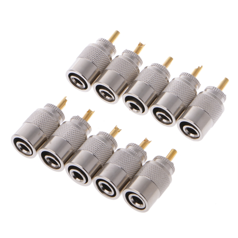 10 Pcs UHF PL-259 Male Solder RF Connector Plugs For RG8X Coaxial Coax Cable 75ohm coaxial female connectors plugs 5 pcs