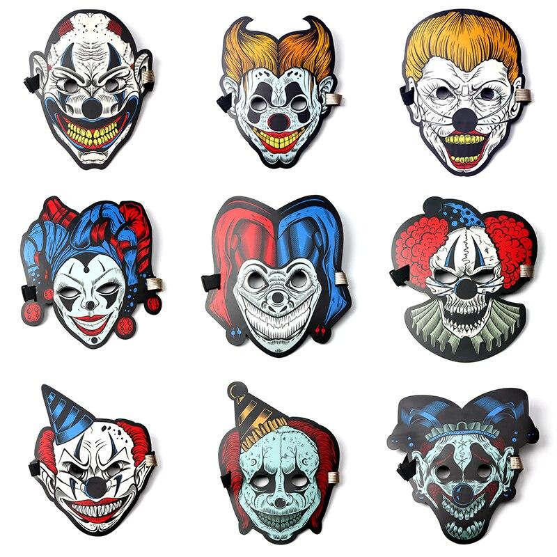 Halloween LED Licht Maske Neue design Sound Aktiviert Maske Leuchtenden Glowing Flash 3D Tier Maske Voice Control Party Masken
