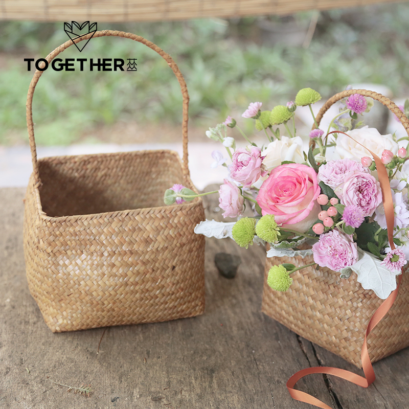2 pcs natural seaweed woven basket basket decorated basket gift 2 pcs natural seaweed woven basket basket decorated basket gift baskets flower shop on aliexpress alibaba group negle Images