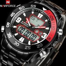 NAVIFORCE мужская мода двойной дисплей часы из нержавеющей стали ремешок черный корпус 30 М водонепроницаемый повседневная цифровые часы reloj hombre