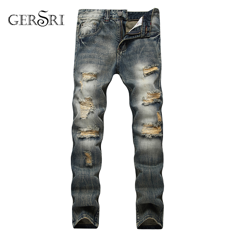 Gersri Streetwear Mens Jeans Ripped Denim Pants New Famous Brand Biker Jeans Men High Quality Straight Patch Jeans Plus Size