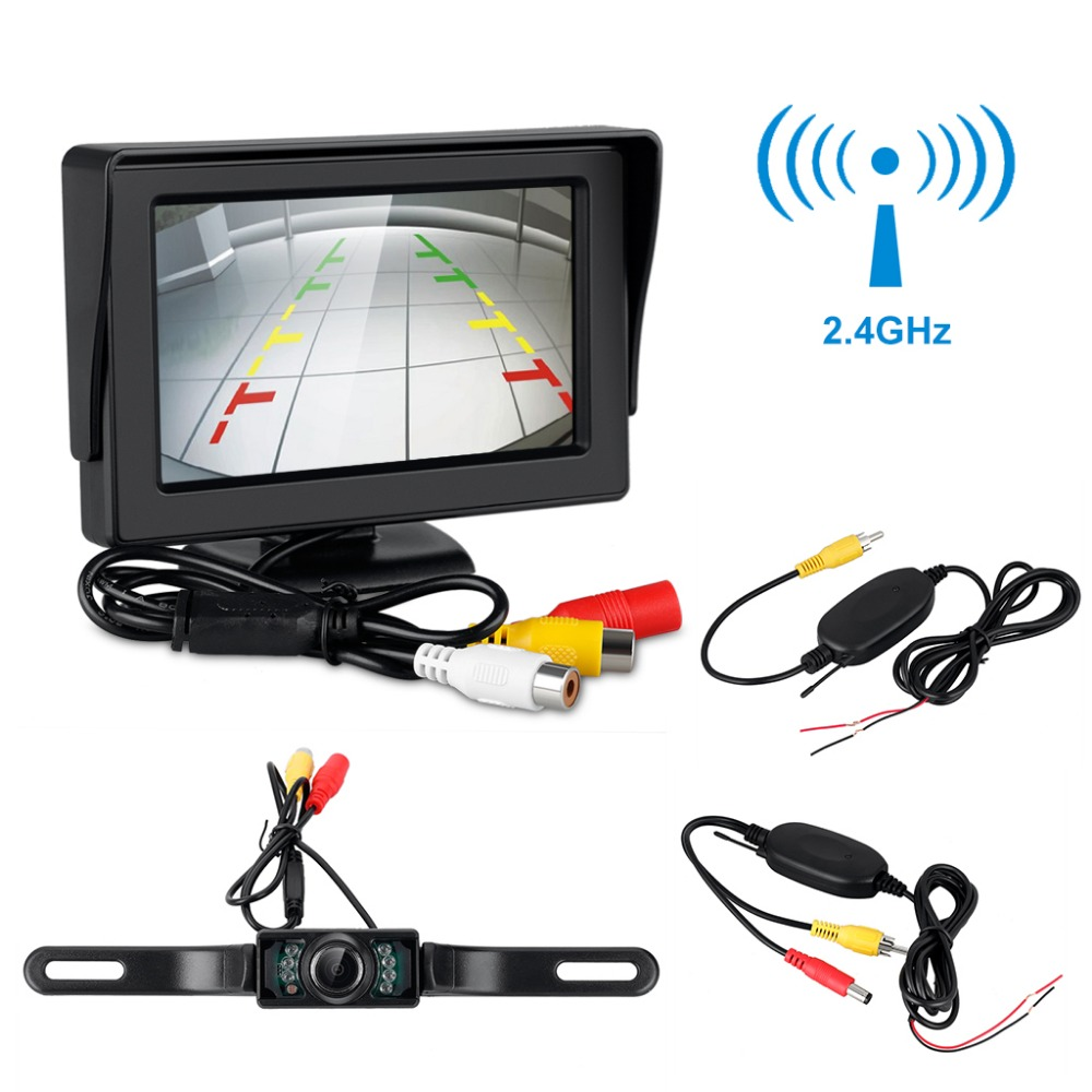 4.3 TFT LCD Monitor + Wireless Car Backup Camera Rear View Car Parking System Night Vision Waterproof Receiver and Transmitter