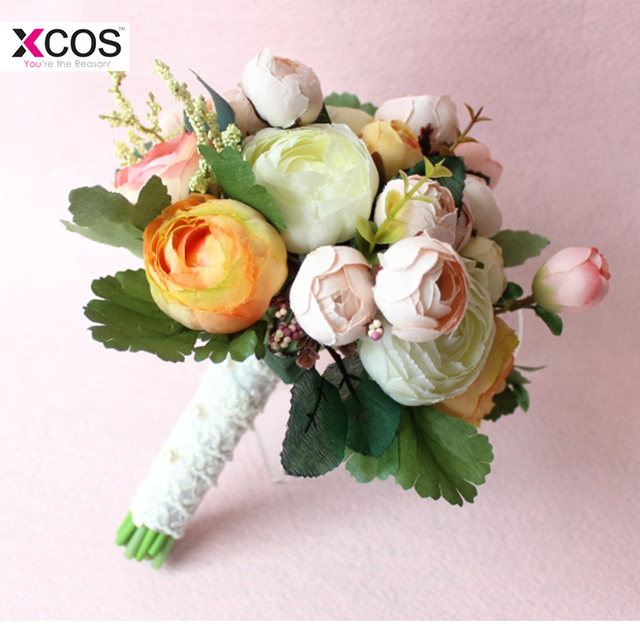 Romantic 2018 New Pink Yellow Ivory Wedding Flowers Bridal Bouquet ...