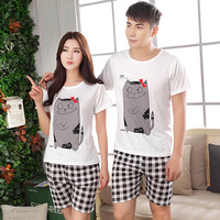 2014 NEW Despicable ME Summer Pajamas For Couple Yellow Short Sleeved Cotton Leisurewear Suit Cotton Sleepwear
