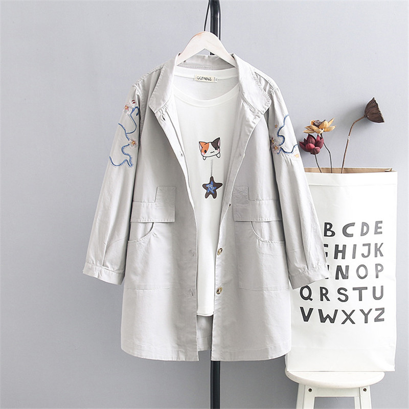 Plus Size Women   Trench   Coat Spring Autumn Embroidered Loose Single-breasted Pocket Long Thin Windbreaker Female Casual Outerwear
