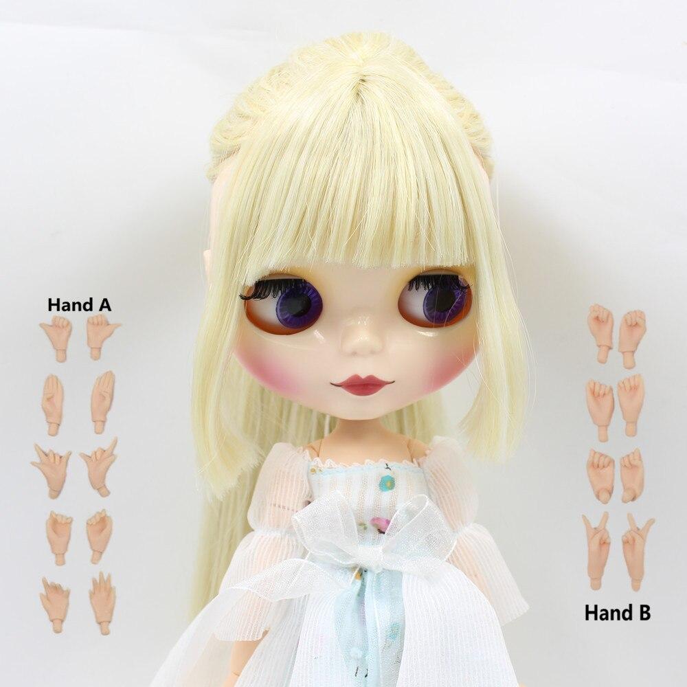 цена на saber fate stay night 280BL0720/1003 Golden mix white hair with bangs/fringe white skin Joint body bjd blyth doll 1/6 doll 30cm