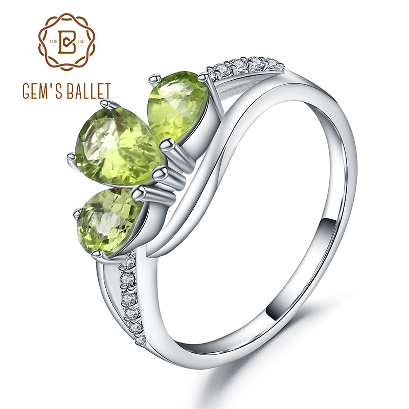 Gem's Ballet 1.71Ct Natural Green Peridot Engagement Rings For Women 925 Sterling Silver Ring Romantic Water Drop Fine Jewelry