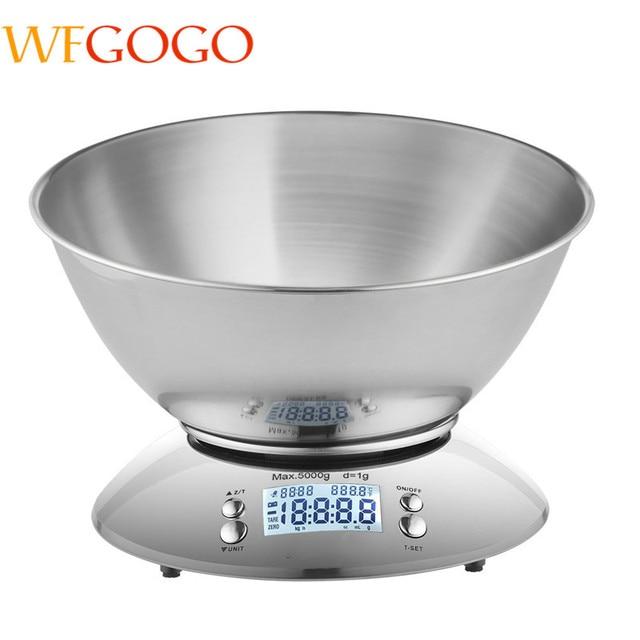 Wfgogo Digital Kitchen Scale 5kg 1g Accuracy Food Stainless Steel Bowl 2 15l