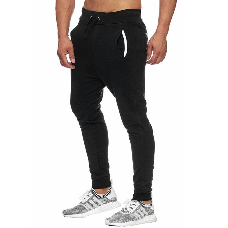 Men Pants 2018 Male Brand Straight Trousers Workout Long Pants Cotton Jogger Tracksuit Funky Sweatpants Plus Size 3XL Gray Black
