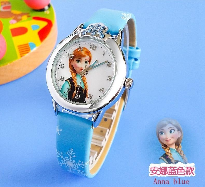 2019 New Cartoon Children' Watch Cute Princess Elsa Crystal Wristwatch Fashion Girls Kids leather Quarts Watches Sports Clock