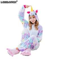 LAISIDANTON Cute Cartoon Animal Colored Unicorn Pajamas Flannel Hooded Long Sleeve Adult Unicorn Pajamas Sleepwear For Women