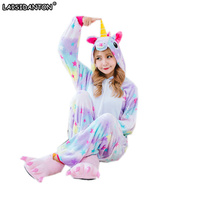 LAISIDANTON Cute Cartoon Animal Colored Unicorn Pajamas Flannel Hooded Long Sleeve Adult Unicorn Pajamas Sleepwear For