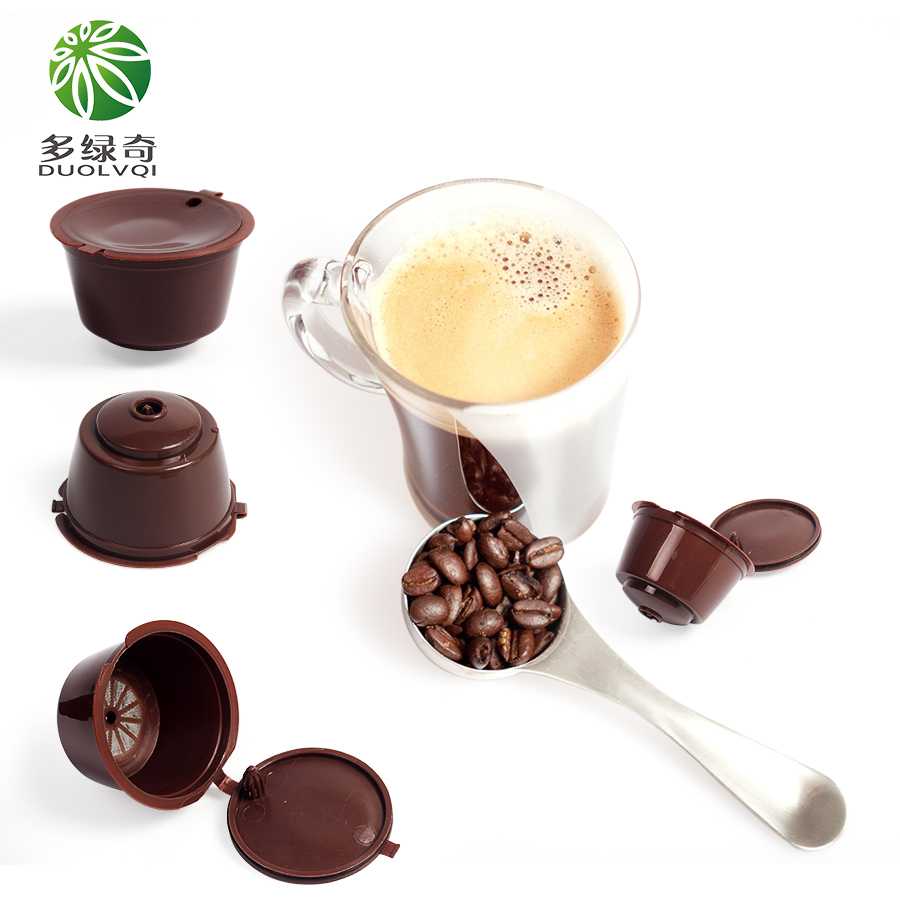 DUOLVQI 10pcs/pack Mini Coffee Maker Refillable Coffee Capsule Nescafe Reusable Capsule Dolce Gusto Capsules use 500 times
