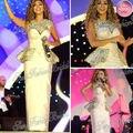 Fares saudita cantante Myriam vestido de cuello redondo con cristales columna piso longitud de Custome Sexy celebridad del satén vestidos