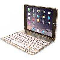 Bluetooth Keyboard Protection Shell Aluminum Backlit Bluetooth Keyboard Smart Folio Case 7 Backlight For IPad Mini