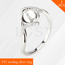 LGSY Twisted design multiple size 6/7/8/9 925 sterling silver ring accessory jewelry mounting for DIY pearls rings