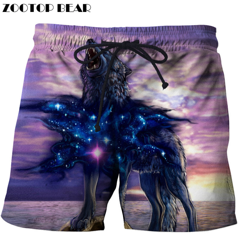 Galaxy Wolf Printed Beach Shorts Masculino Homme 3d Short Plage Quick Dry Swimwear Summer Board Shorts 8XL DropShip ZOOTOP BEAR