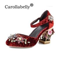 Carollabelly 2017New поступление Hand Made Винтаж Брендовая обувь Роскошные Большой Размеры цветок со стразами на высоком каблуке женские туфли лодочки
