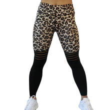 Sexy Leopard Print Leggings Women Activewear Mesh Patchwork Fitness Legging High Waist Workout  Jeggings