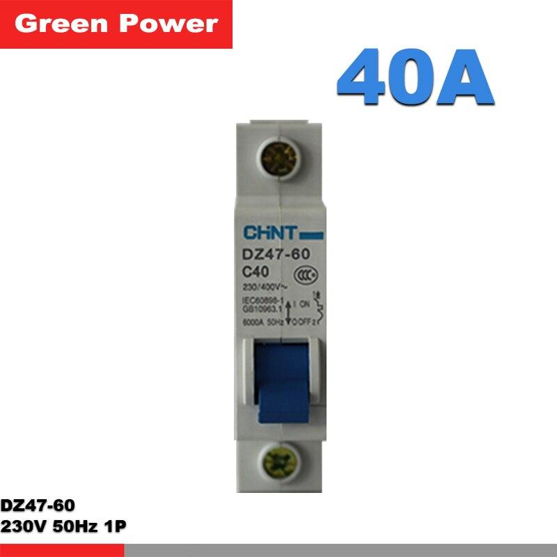 DZ47-60 1 P C40 CHNT disjoncteur, 230 V 40A 1 P, disjoncteur de commutateur, protection contre les fuites livraison gratuite