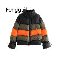 Fashion 2019winter Multi block Patchwork Anorak Jacket Women Cotton Padded Warm Coat Lace Up Sleeve Stand Casual Outerwear