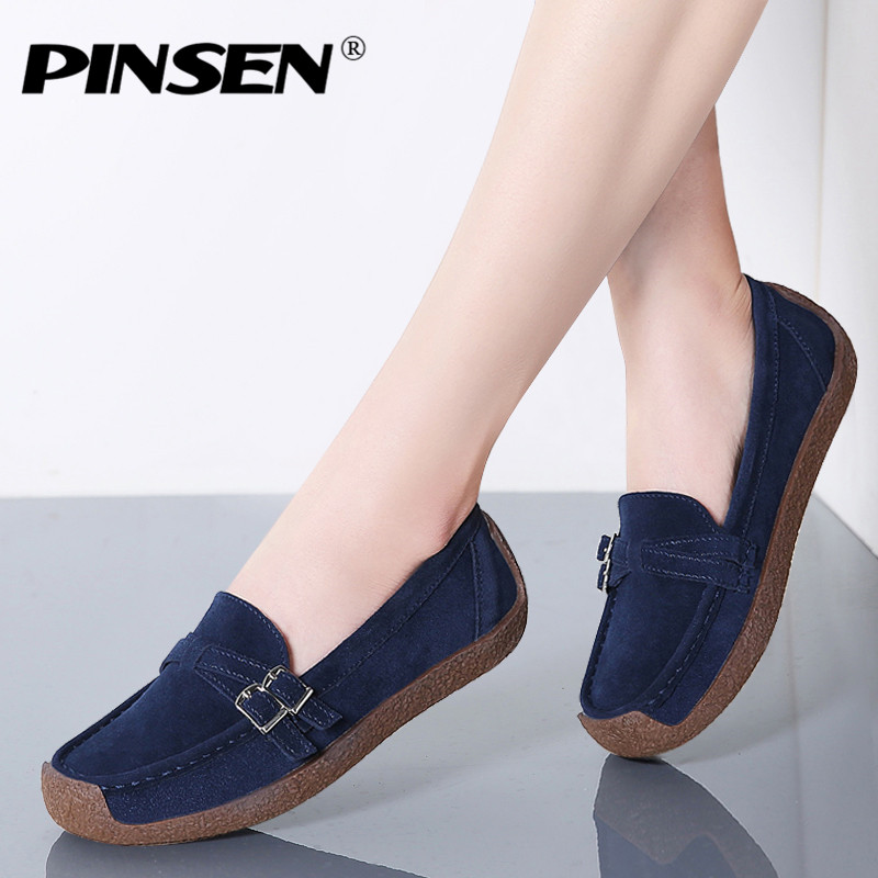 PINSEN 2020 New Spring Casual Women Flats Shoes Genuine Leather Shoes Woman Slip-on Flats Ballet Ladies Shoes creepers moccasins
