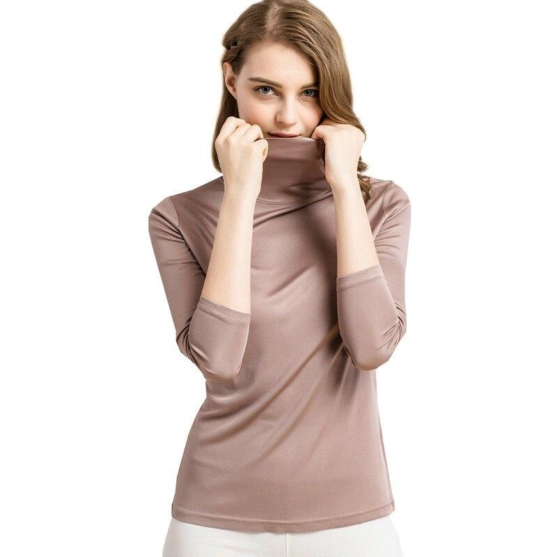 Mujeres 100% seda Real cuello alto manga larga Bottoming camisa 2019 Otoño Invierno Primer camisa más tamaño Spandex top camiseta