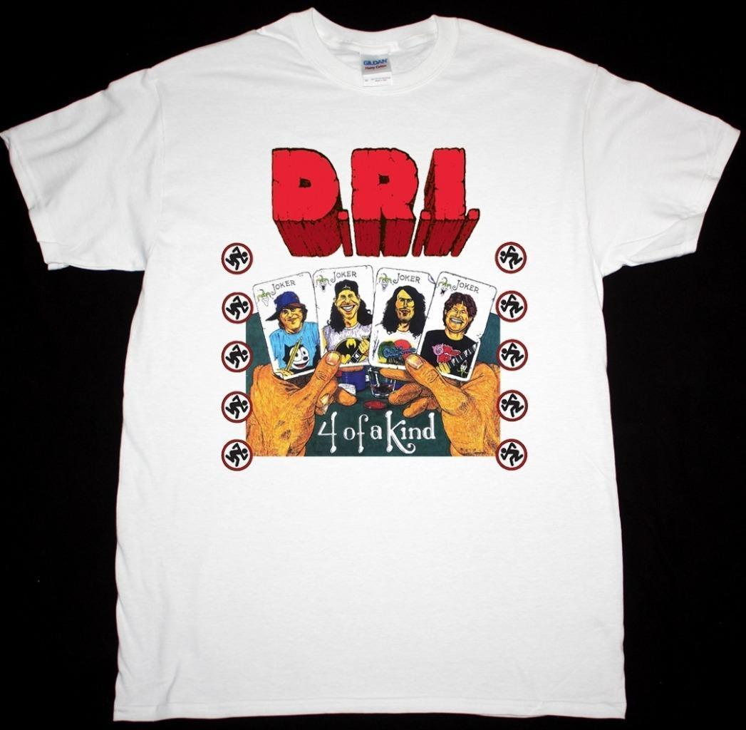 D.R.I. FOUR OF A KIND WHITE T SHIRT DIRTY ROTTEN IMBECILES CROSSOVER THRASH ...